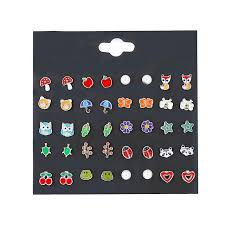 Online Shop <b>20 Pairs</b>/pack Baby Girl <b>Stud</b> Earrings Set Pretty Animal ...