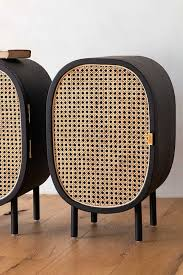 Set Of <b>2</b> Sungkai Woven Cane & Mango Wood <b>Bedside Cabinets</b> ...