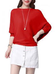 <b>elegant women o</b>-<b>neck</b> batwing sleeve pure color pullover slim ...
