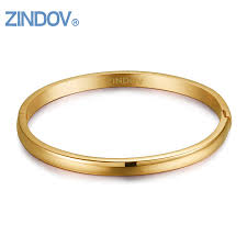 ZINDOV New Arrival Rose <b>Gold Stainless Steel</b> Women Bangle ...