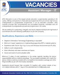 it assistant manager job vacancy in sri lanka qualifications experience and skills degree in information technology engineering or equivalent minimum 3 years experience in implementing supporting