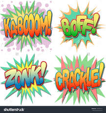 selection comic book exclamations action words stock vector a selection of comic book exclamations and action words ka boom boff