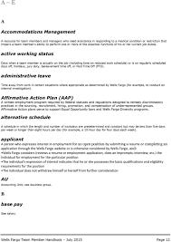 wells fargo team member handbook pdf active working status days when a team member is actually on the job including time