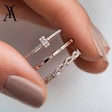 AY <b>3Pcs</b>/<b>Set Fashion</b> Geometry Intersect Crystal Rings Set For ...