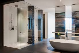 charming designer bathrooms presenting cool shower room with clear glass walls and white acrylic freestanding oval office charming cool office design 2