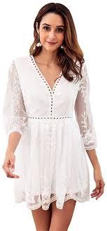 Mebeauty-CL <b>Women</b> Dress Autumn Lace Stitching Embroidered ...