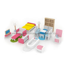 2013 toy babies wooden doll house furniture packed in color brand baby wooden doll house