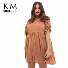 <b>Kissmilk Plus Size</b> Low Heart Collar Butterfly Button Horn Sleeve ...