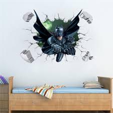 3d Batman Broken Wall Stickers Boys <b>Room Decoration</b> Diy <b>Cartoon</b> ...