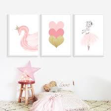 2019 Nordic Style <b>Kids Decoration Ballet Poster</b> Pink Swan Wall Art ...