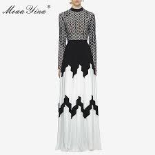 MoaaYina Fashion Designer Runway <b>Dress Summer Women</b> Long ...