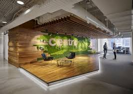 key materials such as a greenery wood steel and concrete were used to form awesome open office plan coordinated