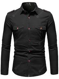<b>Men's</b> Military Style <b>Solid</b> Color Shirt with Epaulets + Pockets ...