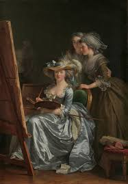 women in self portrait two pupils by adeacutelaiumlde labille guiard 1785 the two pupils are marie capet and carreaux de rosemond