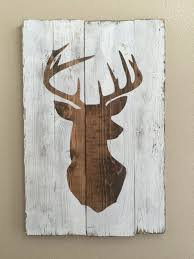 white distressed deer head silhouette wood sign art home decor artistic home office track