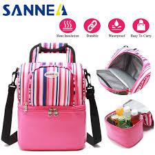<b>Sanne</b> insolation thermal <b>9l</b> double deck folding lunch bag breast ...