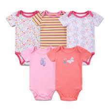 Pink <b>Girl Baby</b> Romper Set New Fation <b>Infant Baby Bodysuit 5Pcs</b>/<b>lot</b> ...