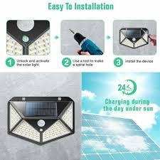 1/2/4PACK <b>100 LED Solar PIR</b> Motion Sensor Wall Light Outdoor ...