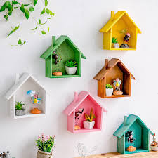 <b>Creative Wooden Wall</b> Decor Retro Colored House Shaped Shelf ...