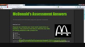 mcdonalds assessment answers mcdonalds assessment answers