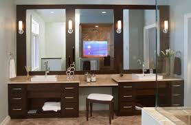 vanity light with switch at dark brown wooden bathroom wall panel f above double sink cabinet bathroom lighting ideas double vanity modern
