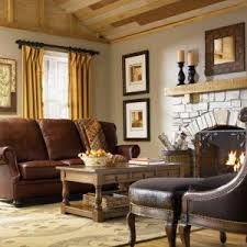 country cottage living room brown sofa
