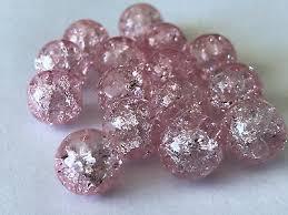 <b>50 PCS</b> 10mm pink Crack bead <b>glass</b> round spacer beads jewelry ...