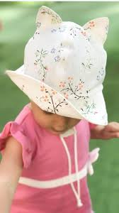 Organic linen beige sun hat with <b>cat</b> ears baby girl flower vintage ...
