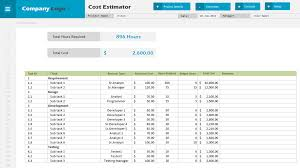 cost estimator excel project management templates cost estimator template