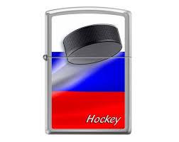 <b>Зажигалка Zippo Российский хоккей</b> Brushed Chrome 200 ...