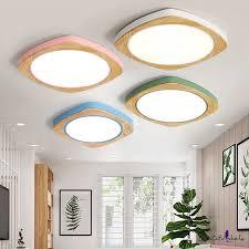 <b>Nordic</b> Style Square <b>LED</b> Flush Light Wood Flush Ceiling Light for ...