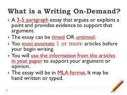 writing on demand guidelines and introduction freshman english  what is a writing on demand  a   paragraph essay that