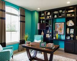 daily design blog featuring beautiful turquoise interiors and teal robins egg blue aqua sky blue seafoam green ocean blue turquoise home office blue brown home office