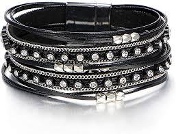 FINETOO Black <b>Wrap</b> Multilayer <b>Leather</b> Bead <b>Bracelets Rhinestone</b> ...
