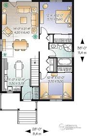 House plan W detail from DrummondHousePlans com st level Traditional one storey house plan  small bungalow   large kitchen island  open