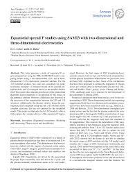 (PDF) Equatorial spread F studies using SAMI3 with two ...