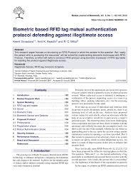 (PDF) <b>Biometric</b> based <b>RFID</b> tag mutual authentication protocol ...