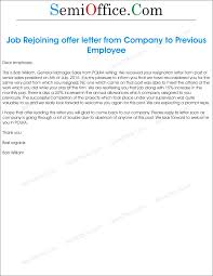 sample job rejoining offer letter of old employee job rejoining offer letter from company to previous employee