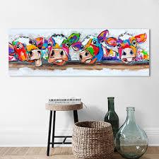 HDARTISAN Vrolijk Schilderij Wall Art Canvas Happy Cows ...