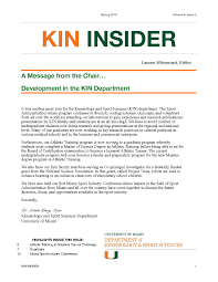 department of kinesiology and sport sciences school of education kin newsletter fall 2016