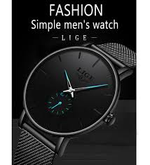 <b>LIGE Mens</b> Watches Top Brand Luxury Waterproof Simple Ultra-Thin ...