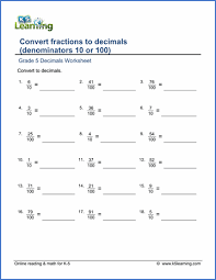 Grade 5 Fractions vs Decimals Worksheets - free & printable | K5 ...Grade 5 Fractions Worksheet convert fractions to decimals