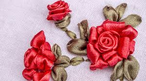 <b>Ribbon</b> Flowers Red Roses <b>Embroidery Stitches</b> by Hand ...