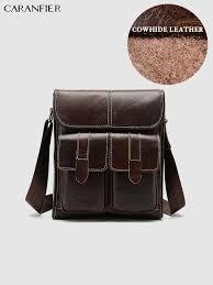 <b>CARANFIER</b> Mens Travel Bags <b>Genuine</b> Cowhide <b>Leather</b> Solid ...