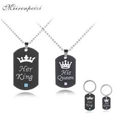 <b>Her king His queen</b> necklaces Valentine's Day gift Lettering ...