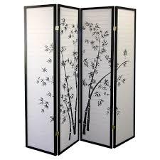 <b>4 Panel Room Divider</b> Black/White - Ore International : Target