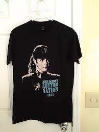 Janet Jackson Rhythm Nation 1814 Teal Text <b>Black Tulex</b> T Shirt ...