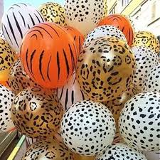 10pcs 12inch <b>Animal</b> Latex Balloons <b>Tiger Zebra Animal</b> pattern ...