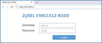 <b>ZyXEL VMG1312-B10D</b> - Default login IP, default username ...