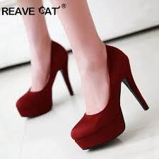 REAVE CAT Platform high heels <b>shoes Women</b> pumps <b>Flock Round</b> ...